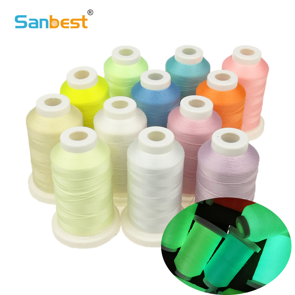 Sanbest Luminous Embroidery Thread Glow In The Dark 800 Meters 150D/2 Polyester Sewing DIY Handmade Cross Stitch TH00057