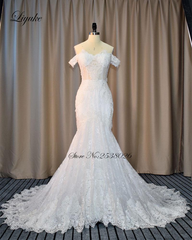 Liyuke elegant tulle sweetheart neckline mermaid wedding for Tulle trumpet wedding dress