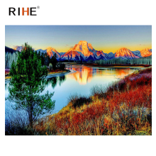RIHE Lakeside Mountain Diy Painting By Number Oil On Canvas Hand Painted Tree Cuadros Decoracion Acrylic Paint Home Art