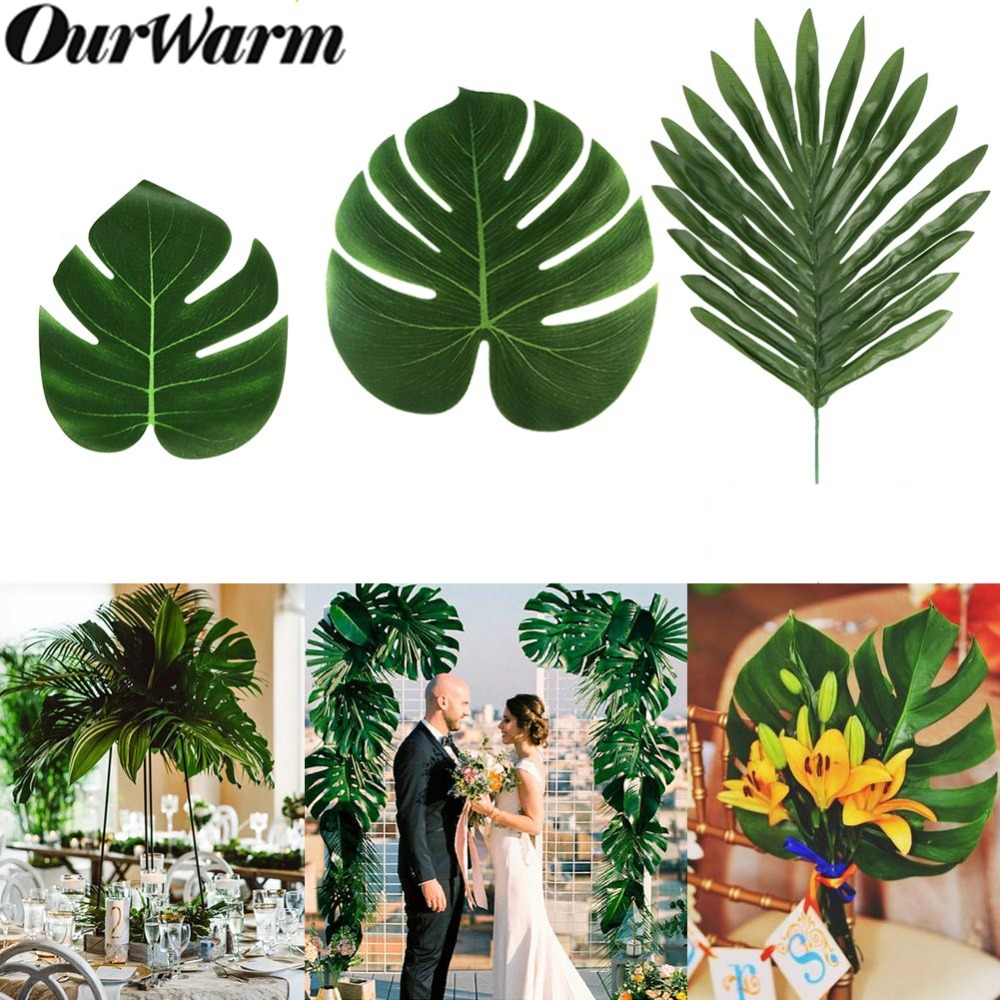 OurWarm Nordic Artificial Fake Plant Palm Leaves Table Mat Garden Backdrop Party Favors Tropical Hawaii Luau Wedding Decoration