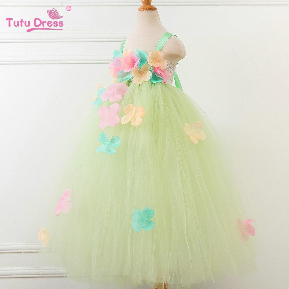 Yaşıl Çiçək Tutu Don Baby Girl Yay Princess Fairy Don Qızlar - Uşaq geyimləri - Fotoqrafiya 2