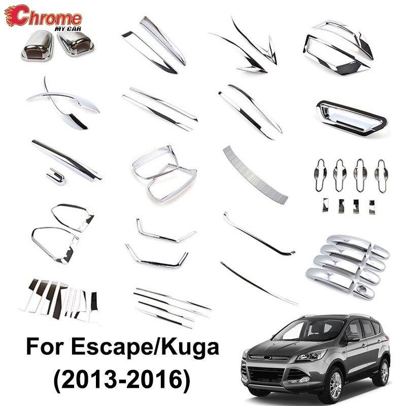 CHROME For FORD Escape Kuga 2013-2017 Fog Light Trim Cover Molding Rear