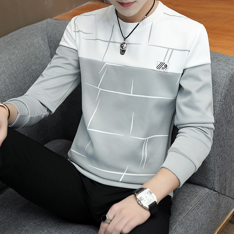 Spring and Autumn 2019 Men's Long Sleeve   T  -  shirt  , Teenagers'  T  -  shirt  , Student's Printed Sweater   Shirt  , Fashion Men's Wear