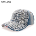 Brands NUZADA Bone Ladies Women Girls Denim Baseball Cap Snapback Hip Hop Hats Full Imitation pearls Rhinestones Caps szm-038