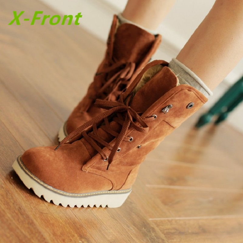 Fashion Women Winter Boots Suede Ankle Snow Boots Female Warm Fur Plush Insole High Quality Botas