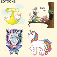 ZOTOONE Unicorn Patch Iron on Heat Transfer Patches for Kid Clothing Cartoon Animal DIY Stripes Applique T-shirt Custom Sticker цена