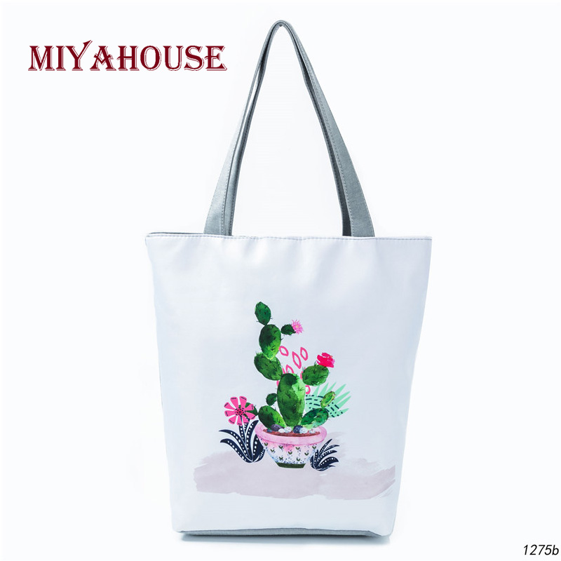 97e739709e Miyahouse Simple Style Single Shoulder Bag Women Cartoon Cactus Printed  Canvas Tote Handbag Female Daily Use Shopping Bag Girls