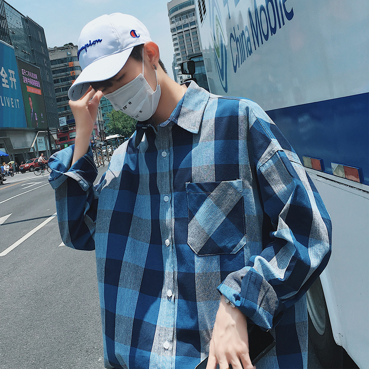 Fashion Casual Men 39 s Long Sleeve Shirt Spring And Autumn New M 2XL Plaid Square Collar Loose Shirt Blue PersonalityYouth Popular in Casual Shirts from Men 39 s Clothing