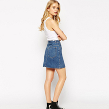 GOPLUS 2018 Summer Style New Fashion Short Jeans Skirt Women Faldas Midi Denim Skirts High Waist Sheds Tutu American Apparel
