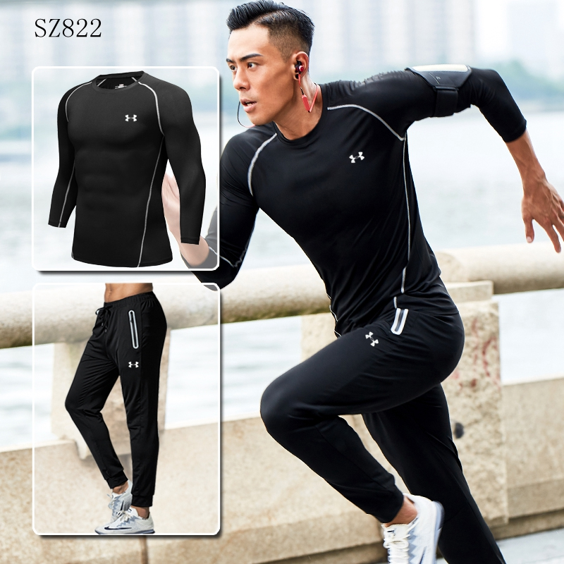 52848eb6a2 US $28.09 19% OFF|High Quality Under Armour Jacket Men Training Running  Sets fitness clothing Light Gym Clothing 2 pieces Long Sleeve  jacket+pants-in ...