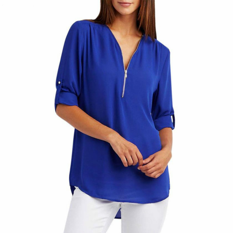 2018 New Spring Summer Fashion Women Tops Casual Street Half Sleeve V-Neck   Blouse   Loose Plus Size Zipper Chiffon   Blouse     Shirts