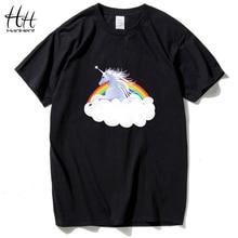 HanHent 2018 new arrival Top moda t shirt dla mężczyzn 3d jednorożec koszulka z nadrukiem homme gorąca hip hop koń tshirt koszulki