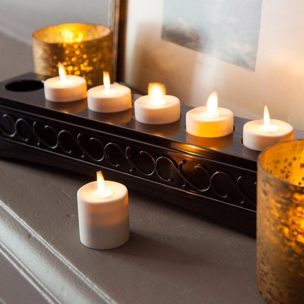 Ksperway LED Rechargeable sans flamme thé bougies ABS plastique avec minuterie/télécommande/support de chargeur ivoire lot de 6 - 4
