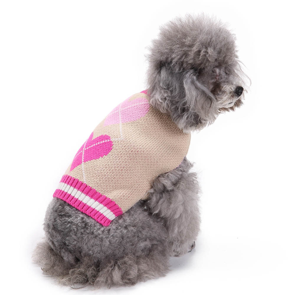 2018 TOP FASHION Heart Pattern Pet Dog Puppy Cute Clothes Puppy Winter Sweater 0425