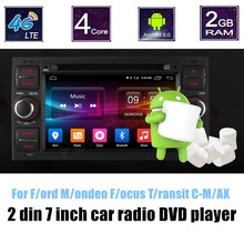 For Ford Mondeo Focus Transit CMAX Quad Core Car DVD player GPS Radio 2 din Bluetooth steering wheel control