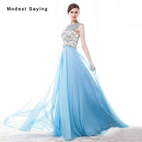 Luxury Sexy See Through Blue A Line O Neck Beaded Evening Dress 2017 with Rhinestone Women Night Party Prom Gowns robe de soiree