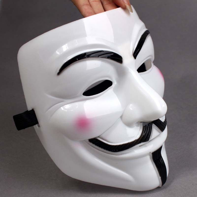Hot sale DHL Free shipping White V mask 100pcs lot Vendetta Anonymous Movie Adult Guy Mask