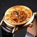 FORSINING Caja de Oro de Lujo de Los Hombres Correa de Cuero Número Roma Display Negro Dial mecánico Reloj Masculino Ocasional