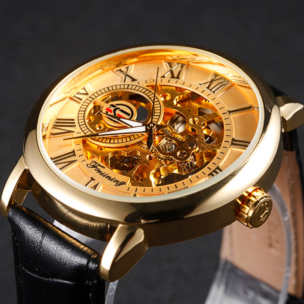 FORSINING Golden Case Luxury Men Rome Number Display Mechanical Watch Black Dial Leather Strap Male Casual Watch Brand Causal chic womage a380 cross shaped black dial round golden case leather wrist watch for men black