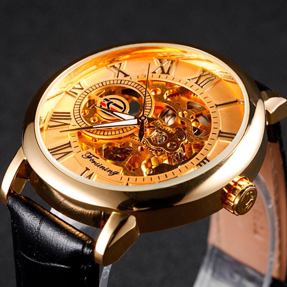 FORSINING Golden Case Luxury font b Men b font Rome Number Display mechanical Black Dial Leather
