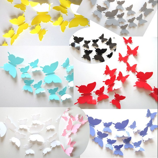 12pcs/Lot 3D Butterfly Wall Stickers Decals Butterflies Decors Poster For Room Fridage Home Decoration Adesivo De Parede 264