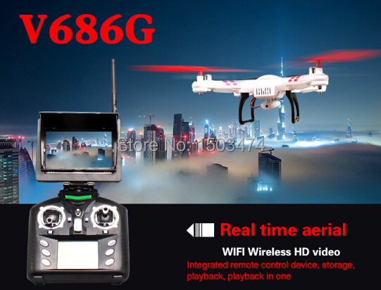 V686G FPV RC DRONE 5.8G Real time live transmission Big LCD RC Quadcopter with 2 Megapixels HD Camera WL RC Quad helicopter Toys