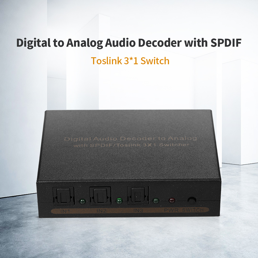 Digital to Analog Audio Decoder with SPDIF/Toslink 3*1 Switch for 3 digital Toslink audio signal to one Toslink audio output 3 port 3x1 spdif toslink mini optical digital selector audio switcher ptical fiber signal splitter box with remote control
