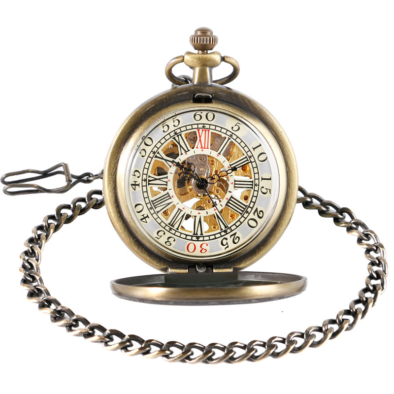 Vintage Bronze Ronman Number Skeleton Dial Hand-wind Mechanical Pocket Watch with Chain for Birthday Christmas Gift 2017 new arrival luxury gold transparent skeleton hand wind mechanical pocket watch with chain for men women birthday gift