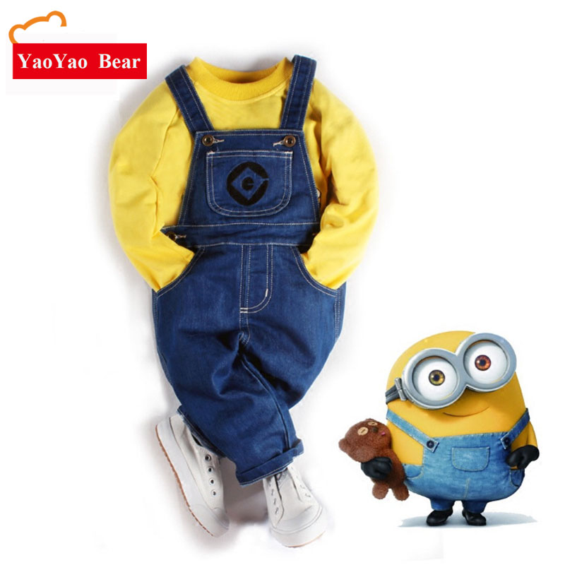 Baby Boy Suit Cartoon Yellow People Children's Pants Wear Sweater Minions Trousers Spring Summer Children Clothing Kids Clothes ems dhl free shipping toddler little boys 3pc minions cartoon casual wear summer outfit children clothing 7 colors 80 90 100 110