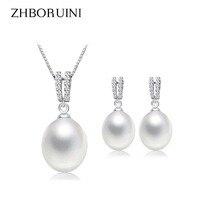 ZHBORUINI 2019 Pearl Jewelry Set Natural Freshwater Pearl Necklace Drop Earrings Zircon 925 Sterling Silver Jewelry For Women