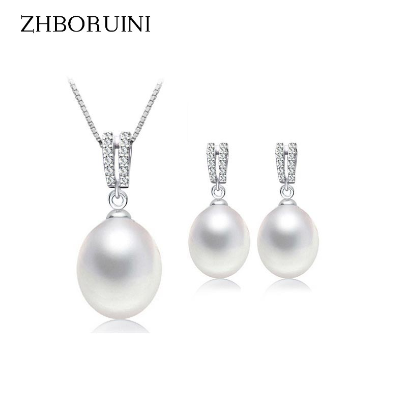ZHBORUINI 2019 Pearl Set Barang Kemas Asli Air Mutiara Pearl Drop Earrings Zirkon 925 Sterling Silver Jewelry Untuk Wanita