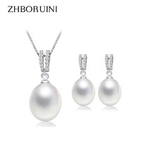 2016 Pearl Jewelry Sets Real Natural Freshwater Pearl Necklace Drop Earrings Double Zircon 925 Sterling Silver Jewelry For Women real new natural freshwater pearl necklace with 925 sterling silver pendant necklace for women natural pearl jewelry
