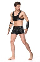 Faux Leather Male Fetish Midriff Harness Vest Top, Gauntlets Arm Braces and Boxer Brief Costume Set Man Macho Cosplay Outfit