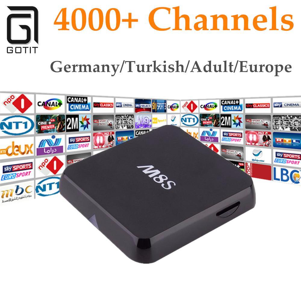 Prix pour GOTiT M8S + Europe IPTV 1 Année Android 4.4 2/8 GB H.265 Français Allemagne Pays-Bas Portugal Italien Adulte xxx Europe IPTV Boîte