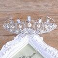Просто мода жемчужина короны головной убор Цинковый сплав инкрустированные белый циркон свадебный обруч волос роскошный кристалл люкс корона головной убор