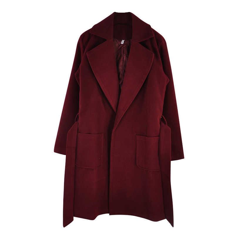 MVGIRLRU elegant Long Women's coat lapel 2 pockets belted Jackets solid color coats Female Outerwear