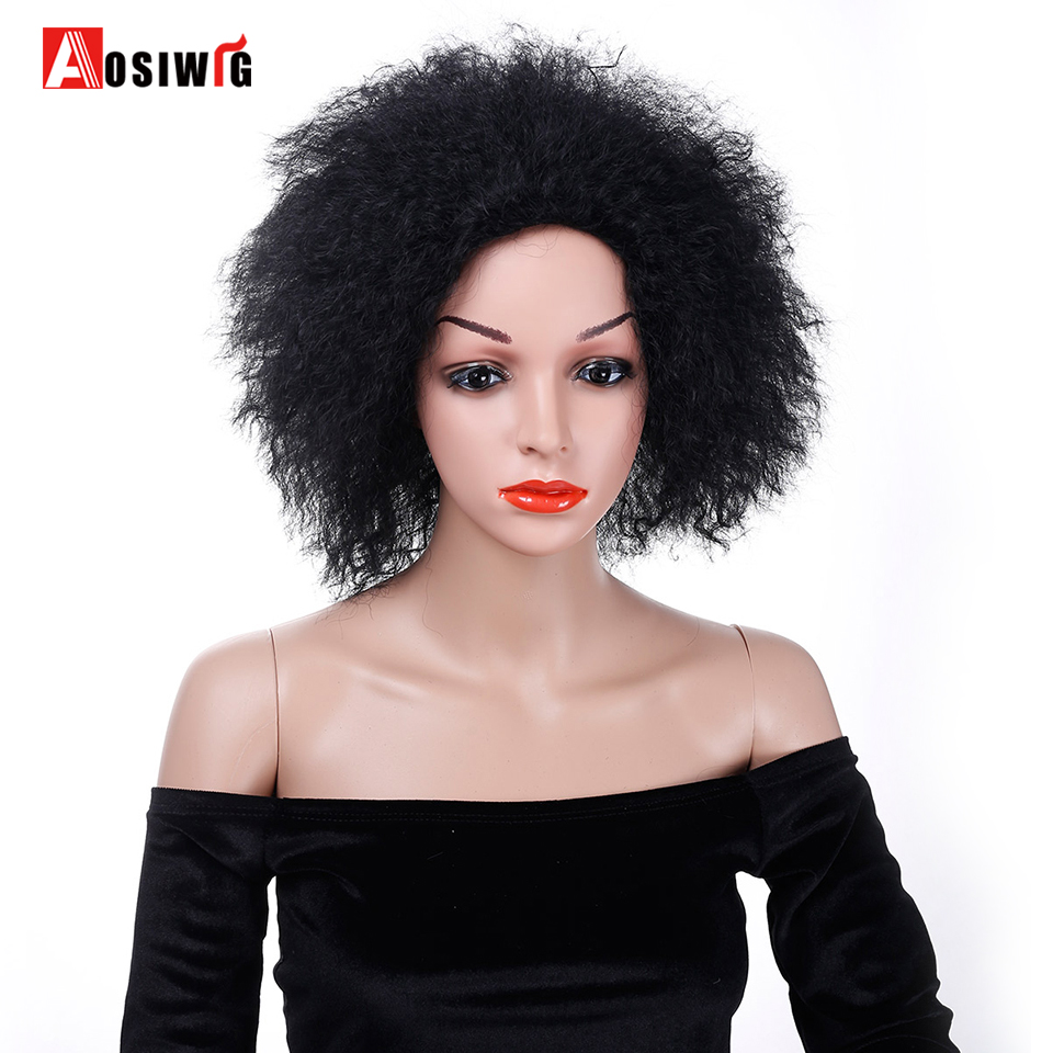 Black Afro Kinky Curly Wig High Temperature Fibe Costume Cosplay Wig Party Synthetic Hair