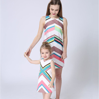 2017 Mother Daughter Dresses Baby Girl Clothes Summer Chiffon Dress Family Look Mom And Daughter Dress