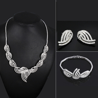 Copper Material White Color AAA Cubic Zircon Setting Bridal Wedding Party Dresses Jewelry Necklace Bracelet Earrings Set