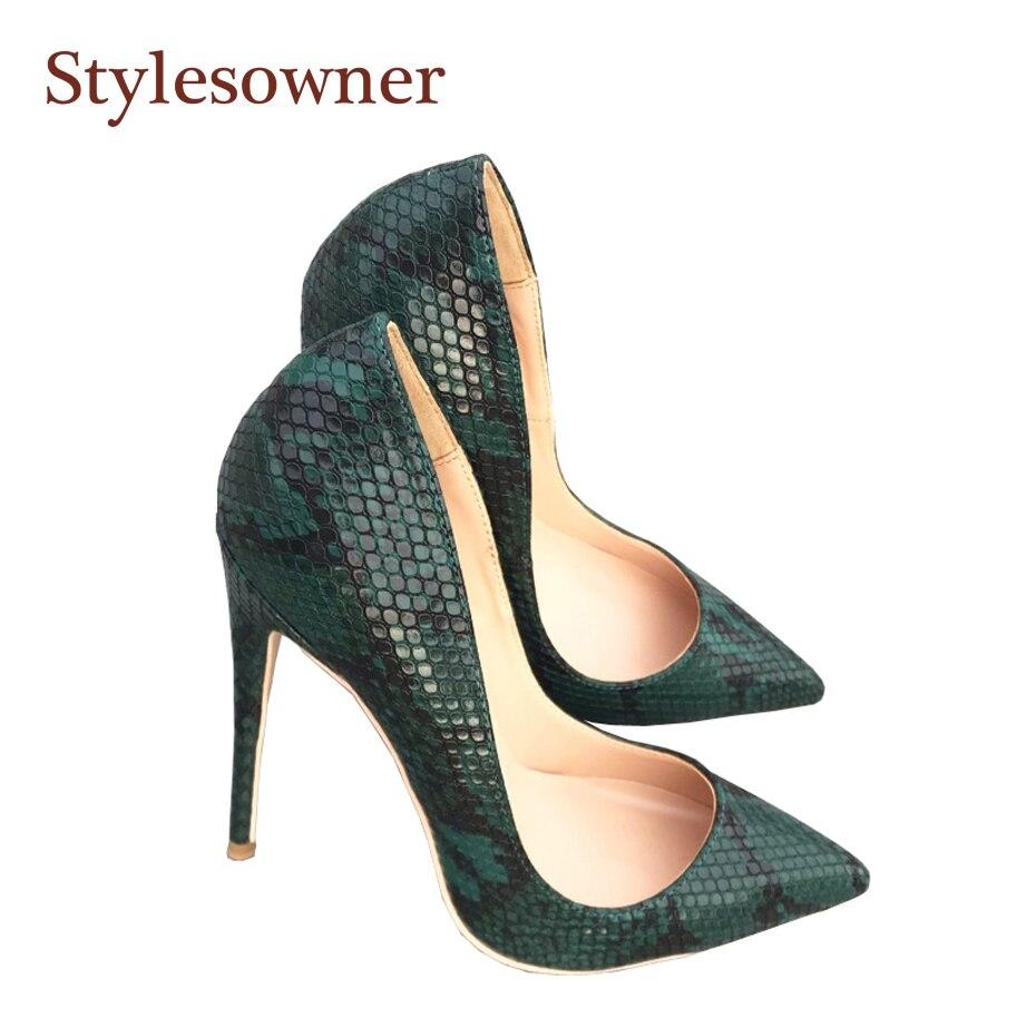 Stylespropriétaire mode peau de serpent vert escarpins à talons hauts chaussures talon aiguille mince 12 cm 10 cm 8 cm Femininos Super haute chaussure 2019