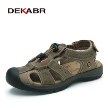 DEKABR Brand Genuine Leather Men Shoes Summer New Large Size Men #8217 s Sandals Men Beach Shoes Fashion Slippers Big Size 38-45 cheap Cow Leather Basic Cotton Fabric Classics Rubber Hook Loop Low (1cm-3cm) Bonded Leather Fits true to size take your normal size