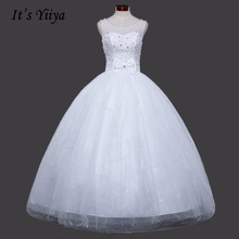 Free Shipping Crystal O-neck Wedding Dresses White Princess Crystal Bridal Frocks Real Photo Custom Made Vestidos De Novia 1095