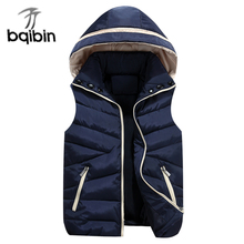 2017 NEW Autumn Winter Men Warm Vest Detachable Cap Cotton Vest Femme Sleeveless Jacket Men Casual Cardigan Waistcoat 3XL