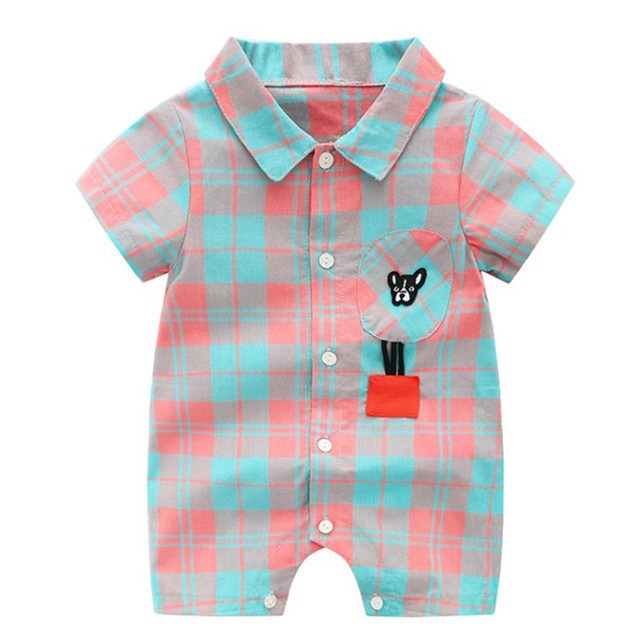 Hot Sale Baby Boy Clothing Rompers Plaid Cotton Short Sleeved Baby Boy Clothes Unicorn Pockets Gentleman Baby Romper Jumpsuits