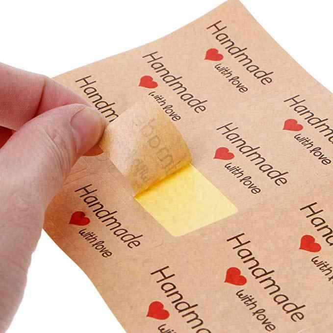 Tùy chỉnh miếng dán 120 chiếc vòng Cảm ơn bạn dán Cói Nhãn làm bánh nhãn handmade với tình yêu miếng dán thêu Sò Hoa miếng dán