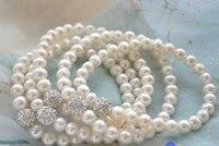 00001 wholesale Stretch 8 8mm white pearl silver gemmy bead bracelet 5pcs