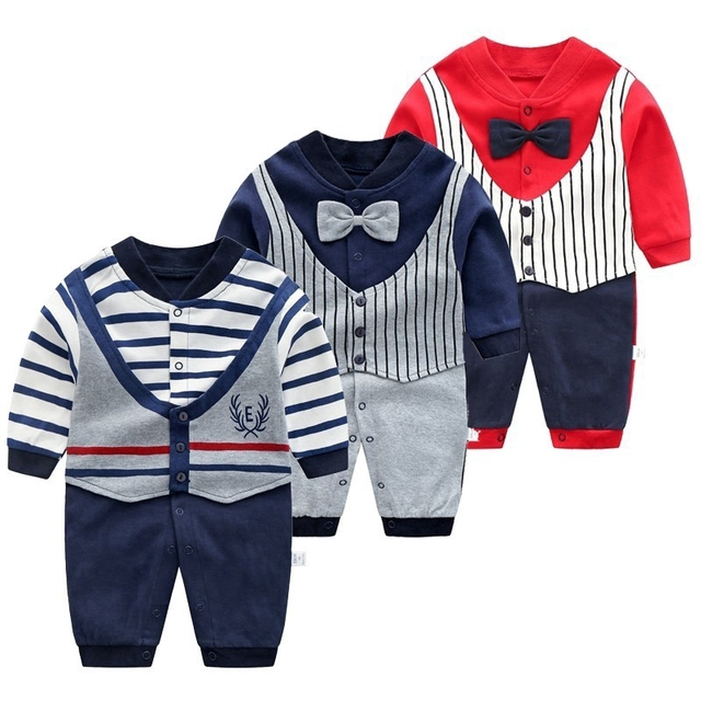 Baby Jumpsuit Autumn Clothing Newborn Cotton Clothes Infant Long Sleeved Rompers Baby Boys Bow Tie Climbing Roupa Pajama Outwear