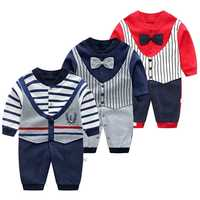 Macacão de bebê outono roupas de algodão recém-nascido infantil manga comprida macacão bebê meninos laço laço escalada pijama outwear