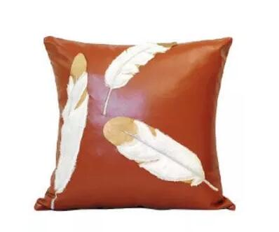 PU Leather cushion cover dog/feather embroidered lumbar pillow case decorative pillow cover household decor