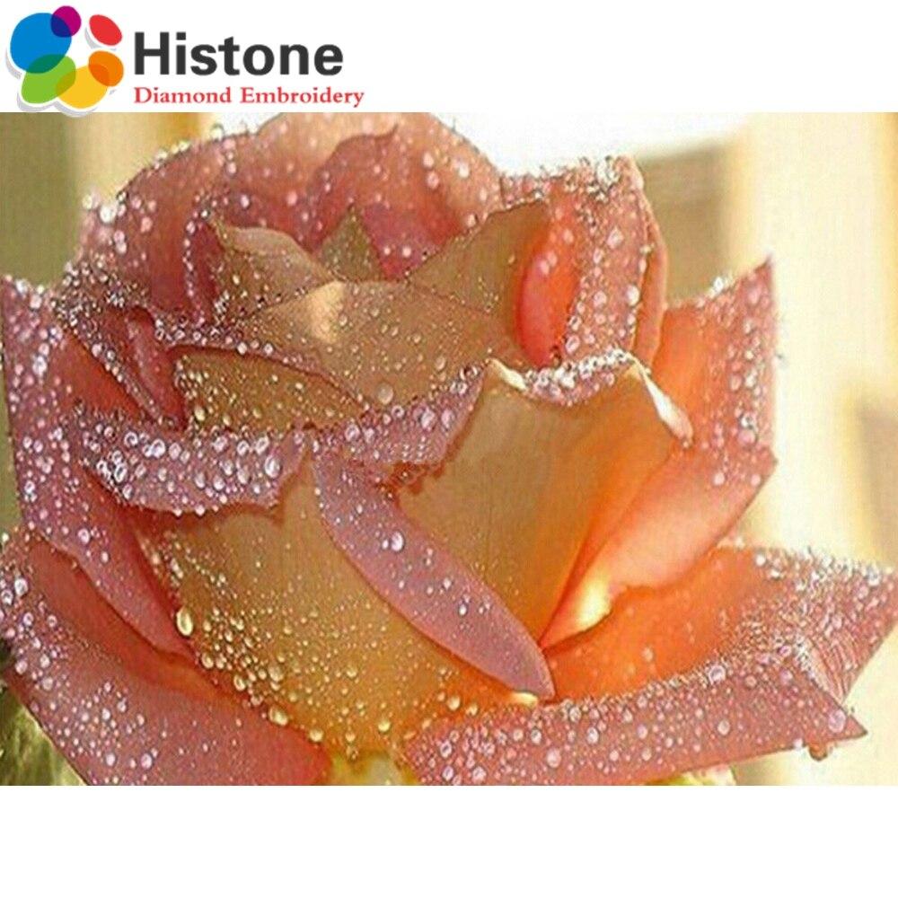 Алмазная вышивка розовый росы розы воды Florals Алмаз живопись цветы романтические подарки упаковка коробки полный горный хрусталь 70132
